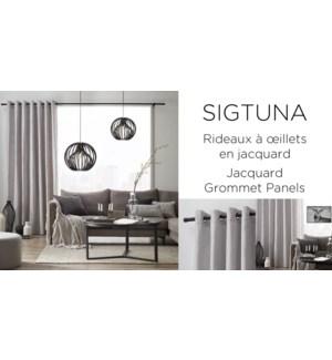 SIGTUNA JACQUARD-argent-52x84-GROMMET PANEL