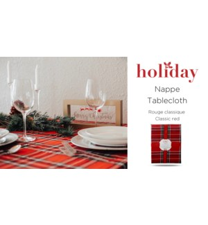 classic red plaid tablecloth 60X84 6/B