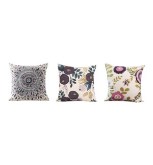 BLU AMIRA floral cushion asst 18*18 12/box