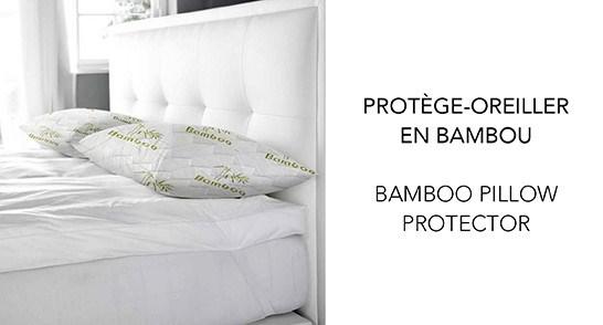 "PROTÔGE-OREILLER BAMBOU BLANC/VERT 21X27"" STD 10B"
