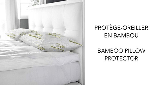 "PROTÔGE-OREILLER BAMBOU BLANC/VERT21X31"" GRAND 12B"