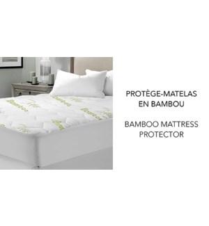 "COUVRE-MATELAS EN BAMBOU BLANC/VERT 39X76+14/17"" SIMPLE 6B"