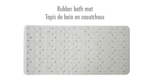 TAPIS DE BAIN EN CAOUTCHOUC BLANC 34X74CM 12B