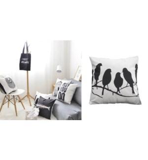 Coussin Oiseaux Sur Un Fil Blanc/Noir18X18 6B