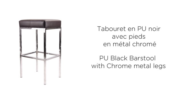 PU BLACK BARSTOOL WITH CHROME METAL LEGS