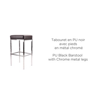 PU BLACK BARSTOOL WITH CHROME METAL LEGS