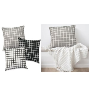 windowpane faux linen cushion 12/B
