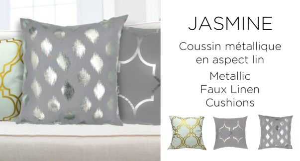 JASMINE metallic faux linen cushion 18x18 asst. 12/b