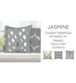 JASMINE metallic faux linen cushion 18x18 asst. 12/b