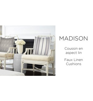 MADISON striped faux linen cushions 18x18 asst. 12/b