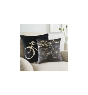 Bicycle chenille jacq. cushion 18x18 asst. 12/b