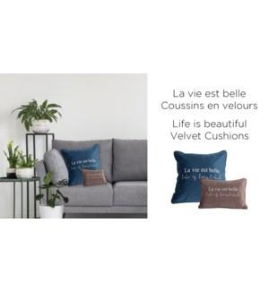Life is Beautiful velvet-Mauve-18x18-CUSHION