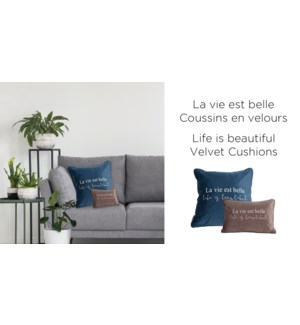 Life is Beautiful velvet-Bleu Fonce-18x18-CUSHION