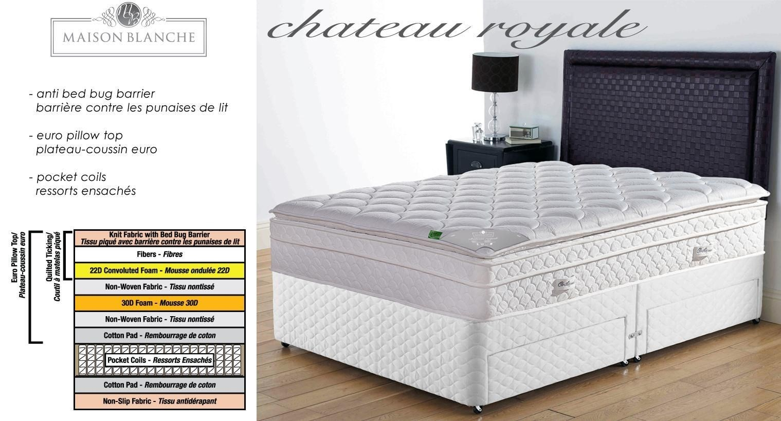 Chateau Royale Whi Mattress 137x203x35cm Fxl Pocket Coil Ressorts