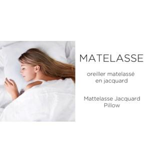 Matelasse Jacq Whi Pillow Shell Q