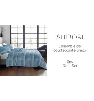 SHIBORI  3 pc-Indigo-102X90-QUILT SET