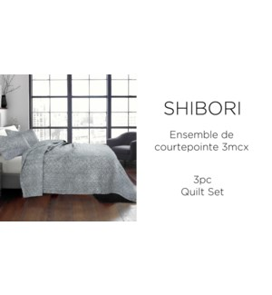 SHIBORI  2 pc-GRAPHITE-68X86-QUILT SET