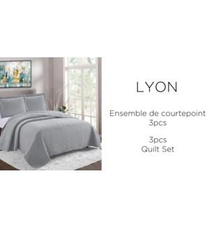 LYON 3 pc-argent- F/Q-QUILT SET