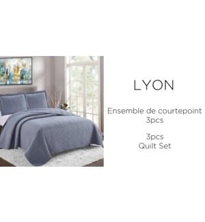LYON 3 pc-GRAPHITE- F/Q-QUILT SET