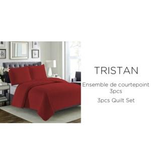 TRISTAN 3pc-ROUGE-F/Q QUILT SET