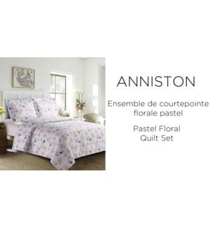ANNISTON pastel floral 3 pc-Multi-102X90 K -QUILT SET