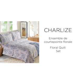 CHARLIZE  floral 3 pc-Gris-88X88 Q -QUILT SET