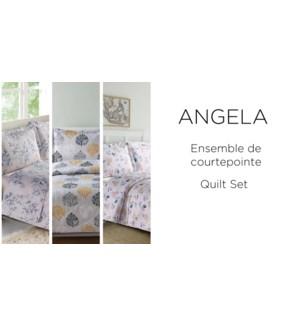 ANGELA 3 pc-ASSORTED-88X88 Q -QUILT SET