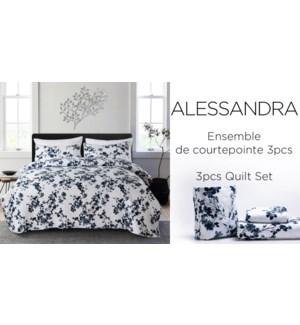 ALESSANDRA 3 pc in self tote-BLEU FLORAL-K-QUILT SET