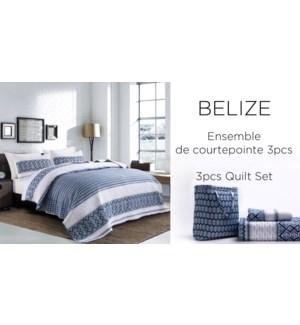 BELIZE 3 pc in self tote-BLEU GEO-K-QUILT SET
