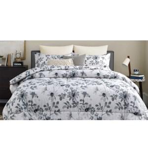 MARLOWE 3 pc-grey floral-K 104X92-Ens.Douiellette