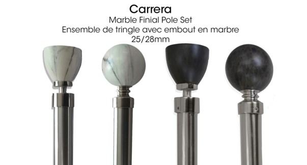 CARRERA ENSEMBLE DE TRINGLE MARBRE NOIR RONDE 28X48