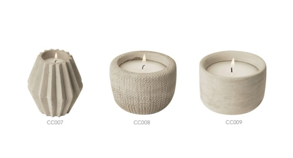CEMENT casted Jar Candle filling 11x12CM grey 8/b
