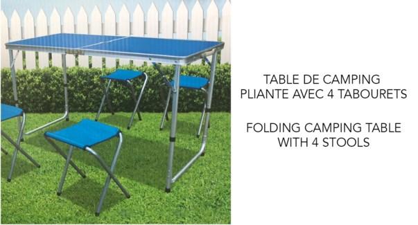 FOLDING TABLE WITH 4 FOLDING STOOLS - ALUMINUM FRAME