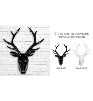 Polyresin Deer Head 28x14x34 WHITE-4B