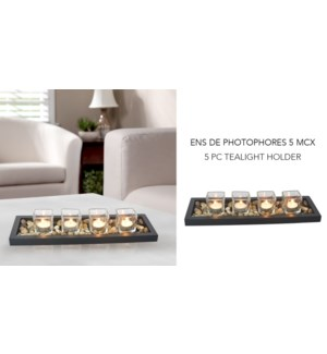 5PC Tea Light Holder Blk Tray - 6B