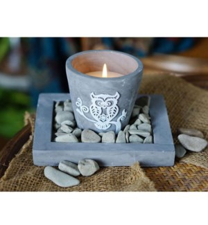 Cement Candle Grey Tray 12b