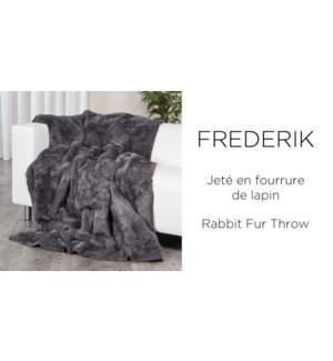 FREDERIK debossed rabbit fur throw 50X60 ASST. 12/B