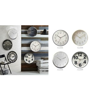 12 Inch wall Clock - Black - 6B