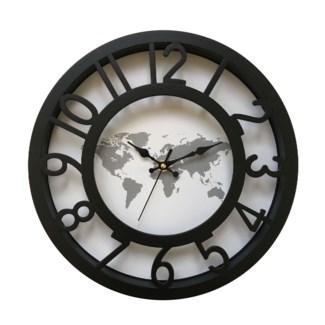 12 Inch Wall Clock Black Map - 6B
