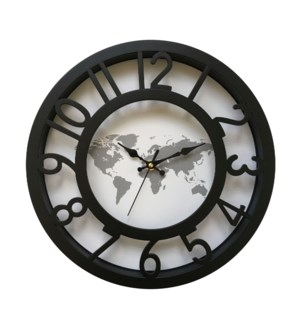 12 Inch Wall Clock Black Map - 6B