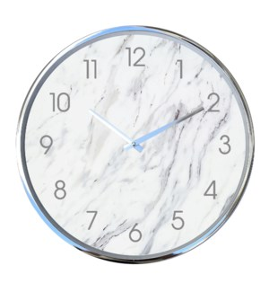 18 Inch Wall Clock Silver White Marble - 6B