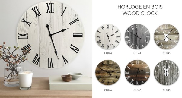 Horloge en bois Deer Ass. B Gry / Bois 60x60 - 6B