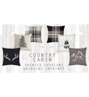 GT coussin imprimes country cabin asst 17*17