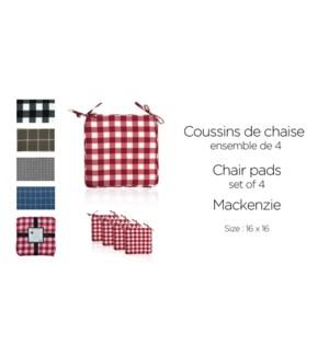 Mackenzie 4 pk chair pads 16X16 ASST. 10/B