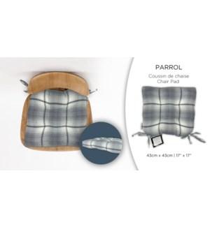 PARROL BLUE PLAID chair pad 17X17 12/B