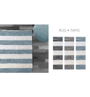 COTTON STRIPE-Blanc/Gris-3 x 5-RUG