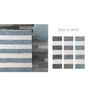 COTTON STRIPE-Blanc/Gris-4 x 6-RUG