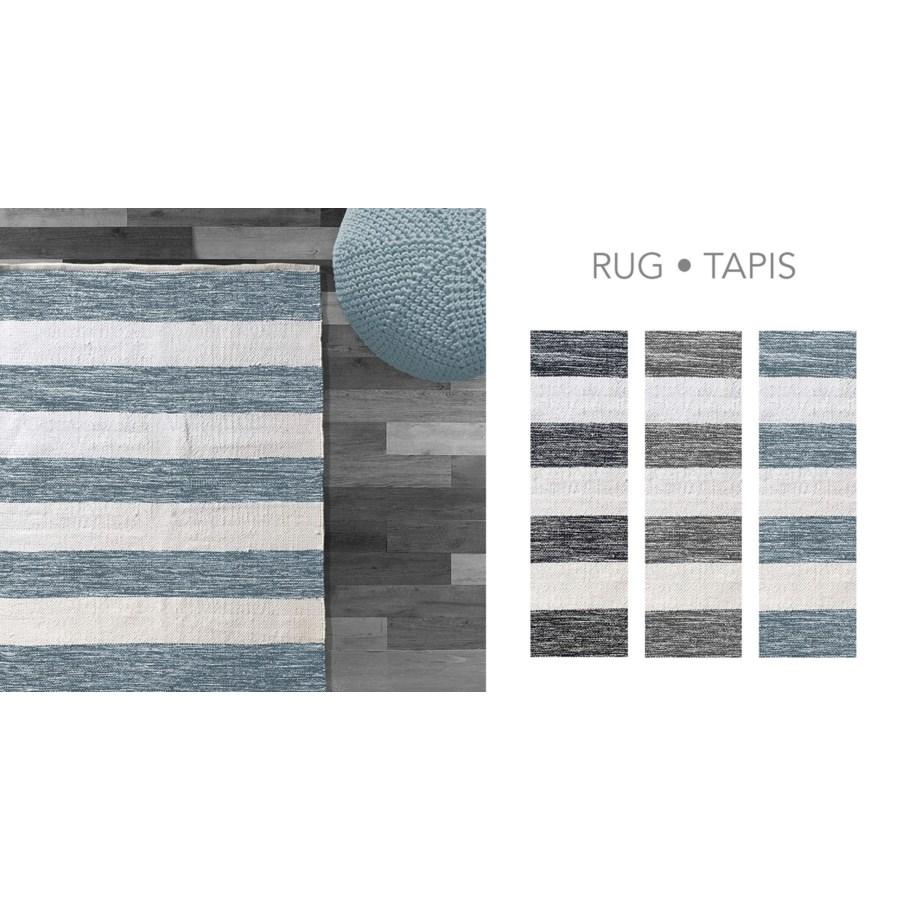 COTTON STRIPE-Blanc/Gris-4 x 6-RUG