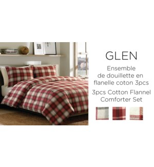 GLEN 3 pc pld cttn flannel asst ROUGE-106X90-comforter set