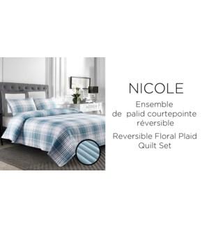 NICOLE REV.PLAID 3 pc-Teal-K-QUILT SET